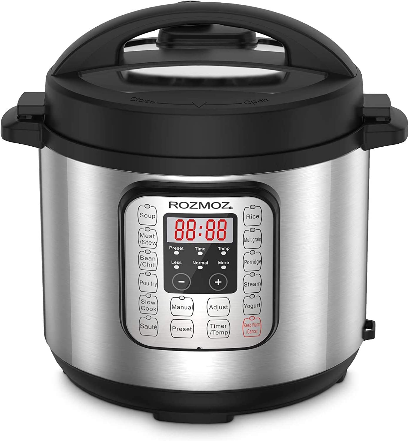 Rozmoz 11-in-1 Electric Pressure Cooker Instant Stainless Steel Pot, Slow Cooker, Steamer, Saute, Yogurt Maker, Warmer, Rice Cooker with Deluxe Accessory kits, 6 Quart