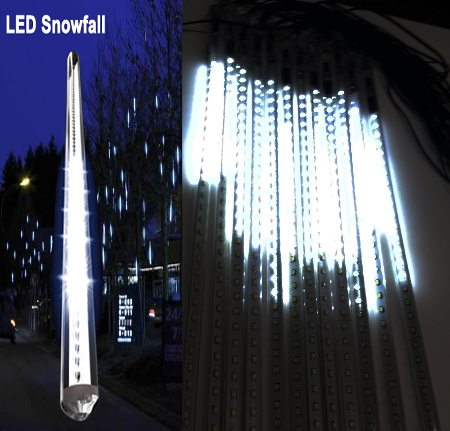 4-Pack 20 Inches Linkable Snow White LED Snowfall Lights Double Sided Waterproof Transformer 16Ft Wire Extension Set of 12, Link Up to 3 Sets of 12 tubes…