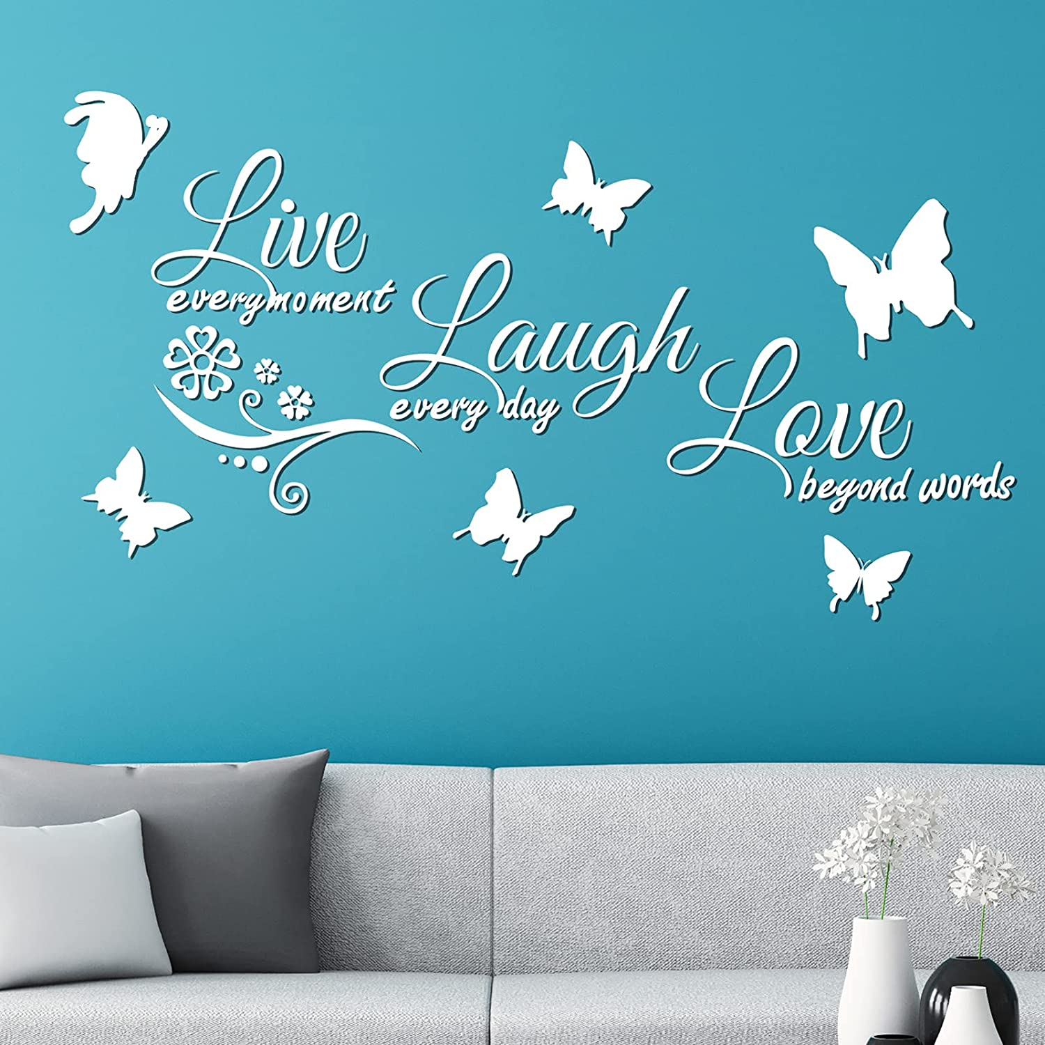 durony 3D Acrylic Mirror Wall Decor Stickers Live Laugh Love Wall Decor Acrylic Butterfly Letters Mirror Stickers Set for Wall Decor