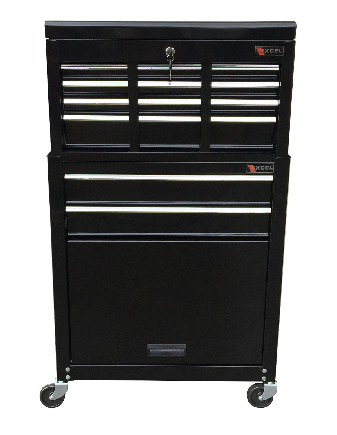 Professional Mechanics Rolling Tool Chest With 8 Drawers- Durable Heavy Duty Ball Bearing Sliding Drawers Easy Open With Security Lock- Perfect Tool Organizer Storage- Home Garage Mechanic Black