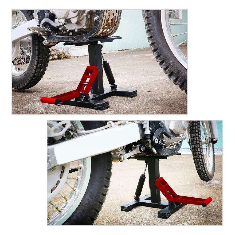 YITAMOTOR Red/Black Dirt Bike Motorcycle Motocross Maintenace Adjustable Lift Steel Stand 330 LB Load Capacity by YITAMOTOR (Image #7)