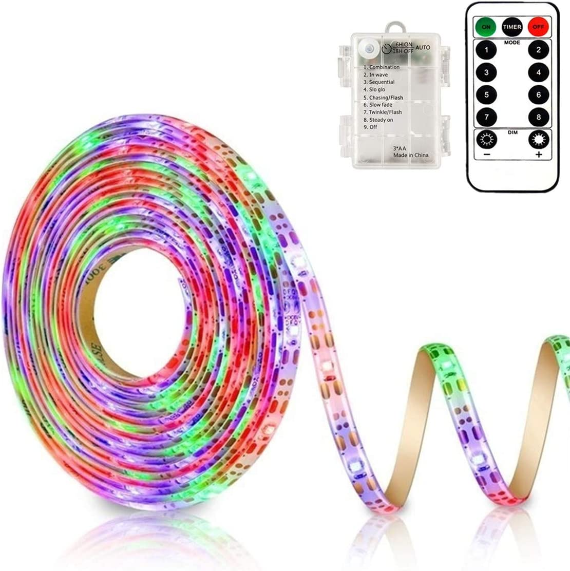 9.8FT 90Led RGB Strip Lights Battery Powered Remote Control, 8 Modes, Dimmable, Timer, Self-Adhesive, Cuttable, Waterproof, for TV Computer Monitor/Screen Decor