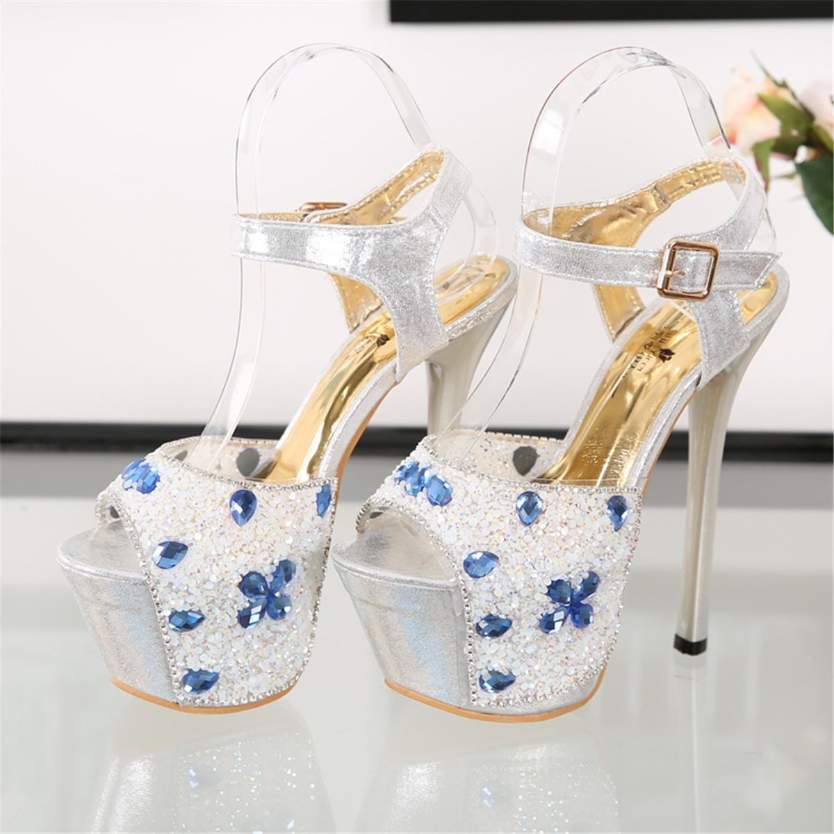 Damen Neue Stiletto Super High Heel Sandalen Schuhe Peep Peep Schuhe Toe Plattform Satin Diamant Chiffon Blume Frühling Frühling Club Party Nachtclub Blau 668982