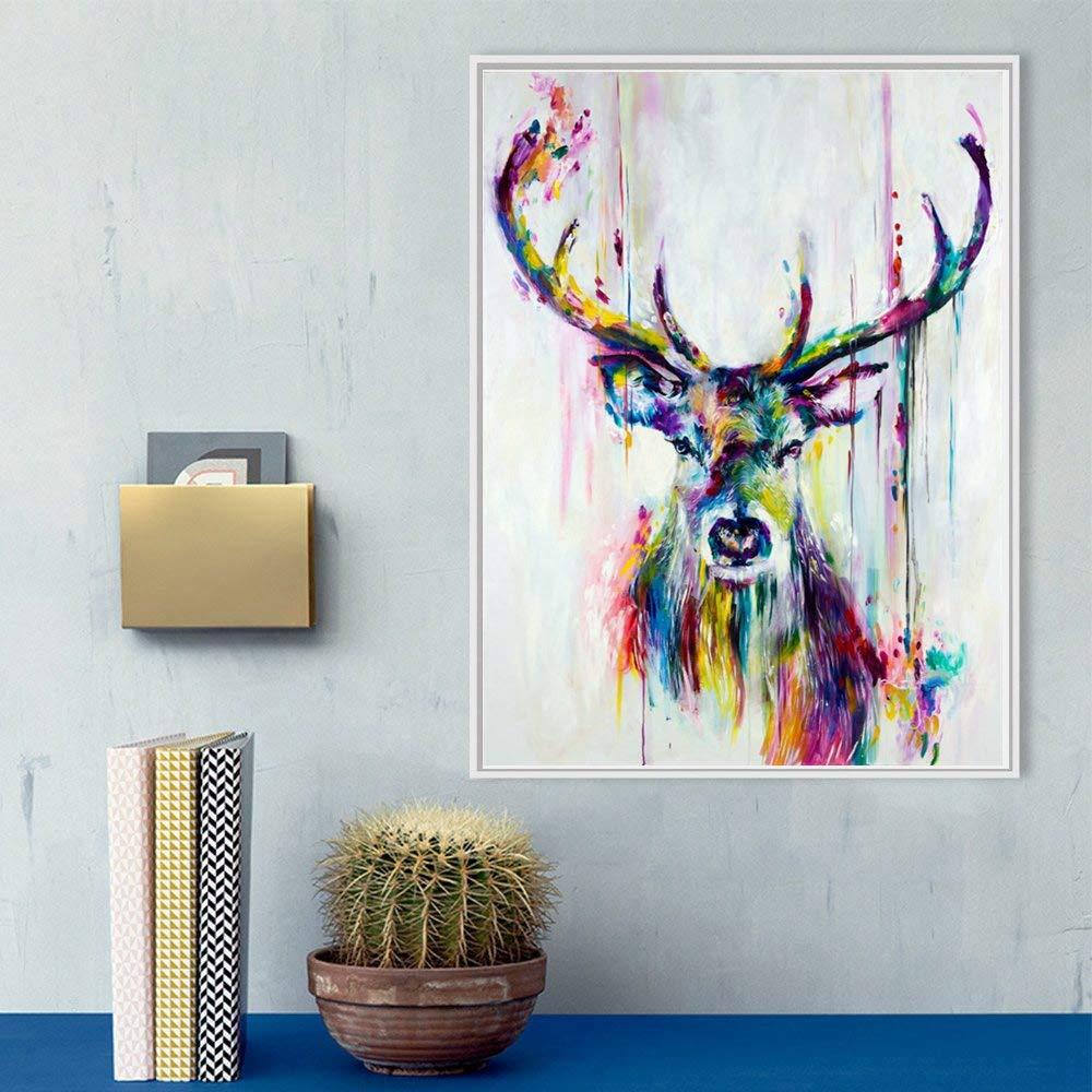 Deer Head Animal Modern Watercolor Canvas Painting Art Print Wall Poster Decor