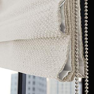 Roman Shades Window Blinds, Beige White Custom Light Filtering Window Shades, Fabric Custom Corded Roman Shades for Home, Window, French Door, Kitchen