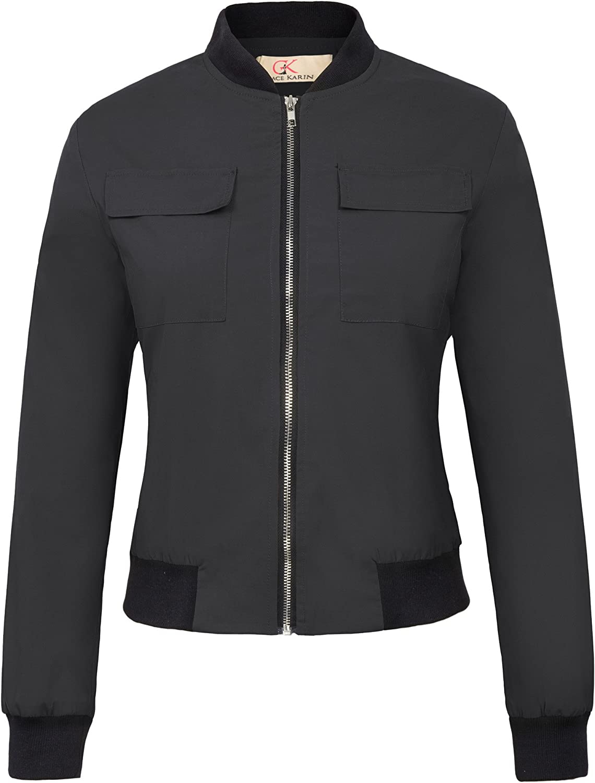 GRACE KARIN Womens Multi-Pocket Biker Bomber Jacket CLAF0006
