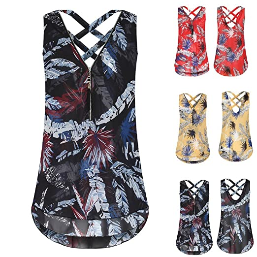 Clearance Women Zipper Sleeveless Tank Top Cross Loose Back Hem Layed V-Neck T Shirts Tops Feather Print Vest Top Women Fringed Openwork Top Duseedik: ...