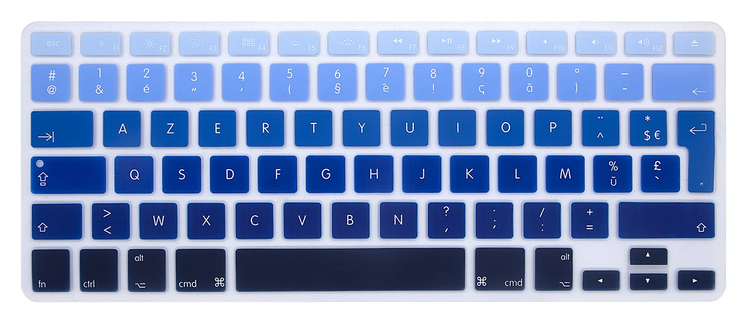 with or w//out Retina Display, 2015 or Older Version /&Older iMac European Layout HRH Yellow French AZERTY Silicone Keyboard Cover Skin Protector Film for MacBook Air 13,Macbook Pro 13//15//17