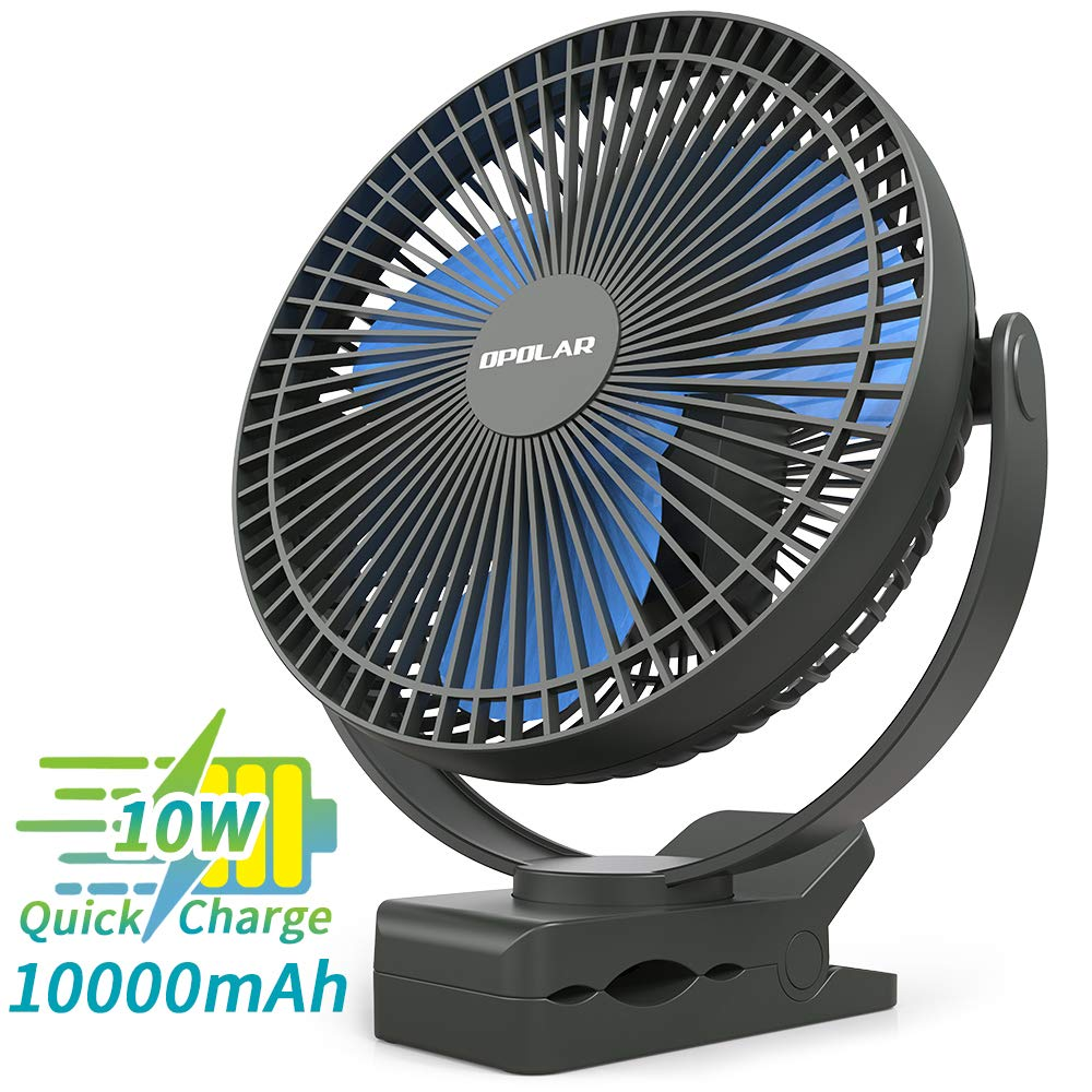 OPOLAR 10000mAh Battery Operated Clip on Fan, 8 Inch Rechargeable Personal Fan, 4 Speeds, USB Desk Fan, Whisper Quiet, Sturdy Clamp Portable for Golf Cart Treadmill Camping Tent Home Office Blue