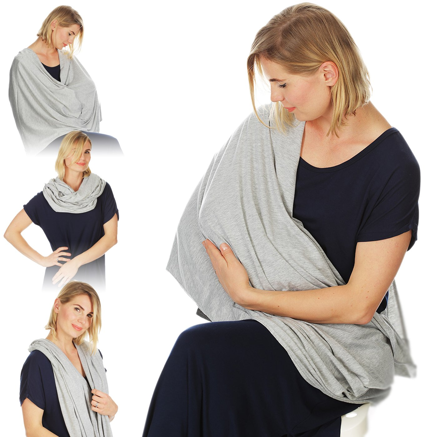 Kiddo Care Nursing Cover Infinity Nursing Scarf for Breastfeeding (Grey White Narrow Stripes)