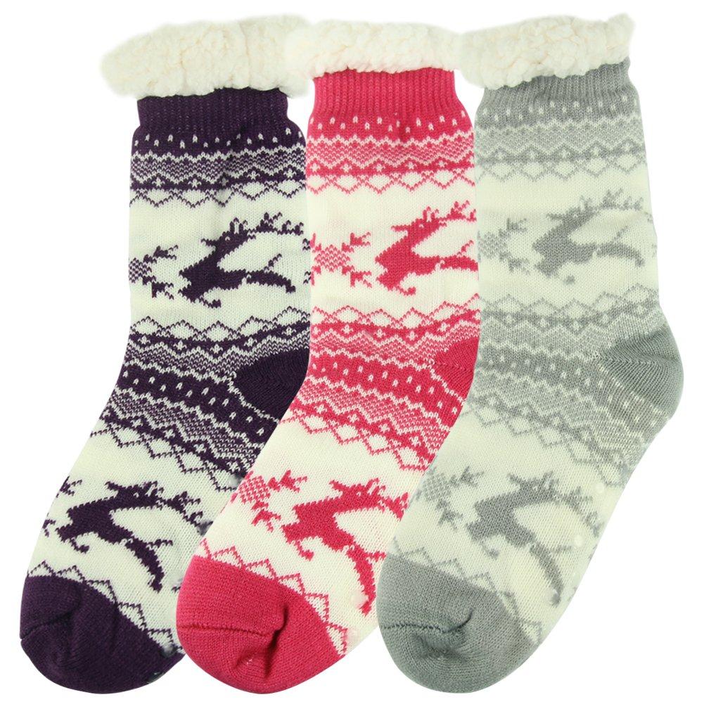 Home Slipper Women's Winter Warm Fuzzy Anti-Skid Lined Indoor Floor Slipper Socks 3 Pairs