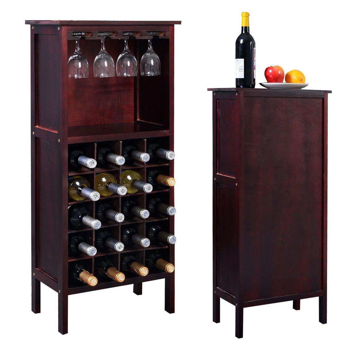 MasterPanel - Wood Wine Cabinet Bottle Holder Storage Kitchen Home Bar w/ Glass Rack #TP3349
