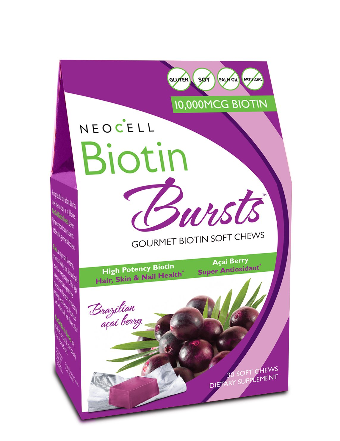 Neocell Laboratories Biotin Bursts Chewable Acai Berry, High Potency, 30 Soft Chews