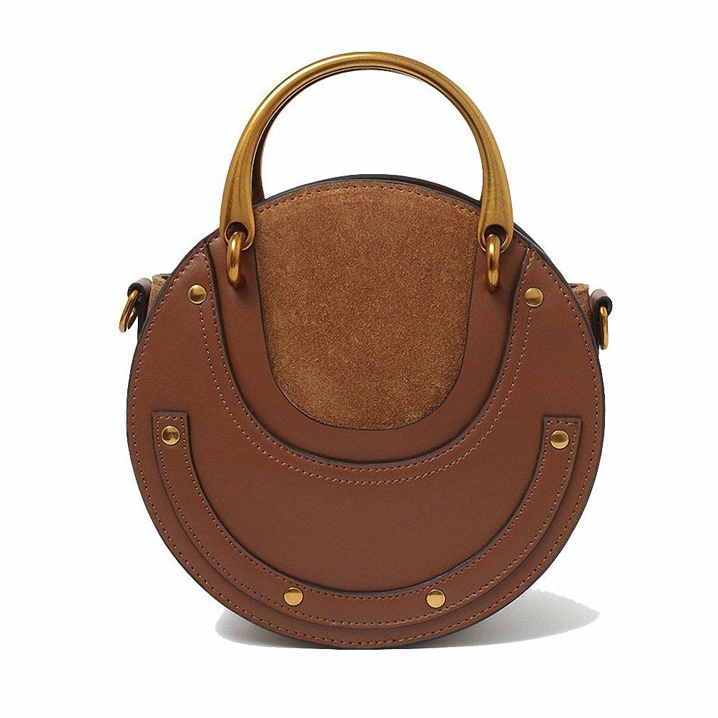 Women Handbags Round Metal Handle Fashion Style Crossbody Shoulder Bags Brwon with logo