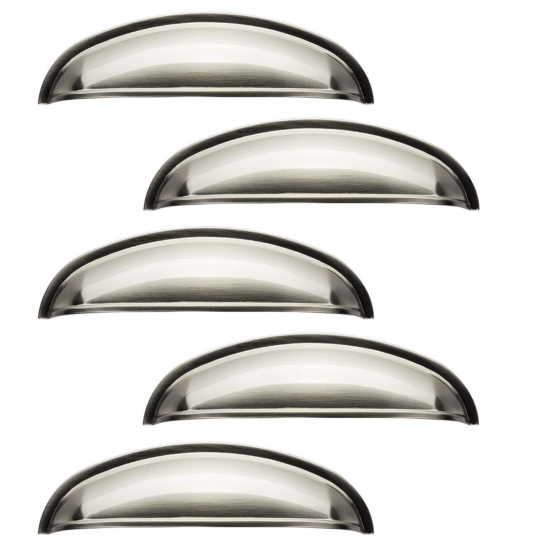 SO-TECH® SET de 10 x Poignée Cuvette NICK Finition Acier Inox opaque Entraxe 96 mm Poignée pour Armoire Poignée de Cuisine Poignée de Cuisine SOTECH
