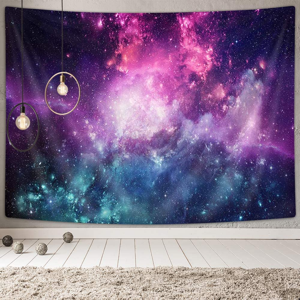 DYNH Mystic Galaxy Tapestry Wall Hanging, Universe Filled with Stars Nebula and Galaxy Tapestries Art Home Decor Bedroom Living Room Dorm TV Backdrop, Beach Blanket 60X40 Inches