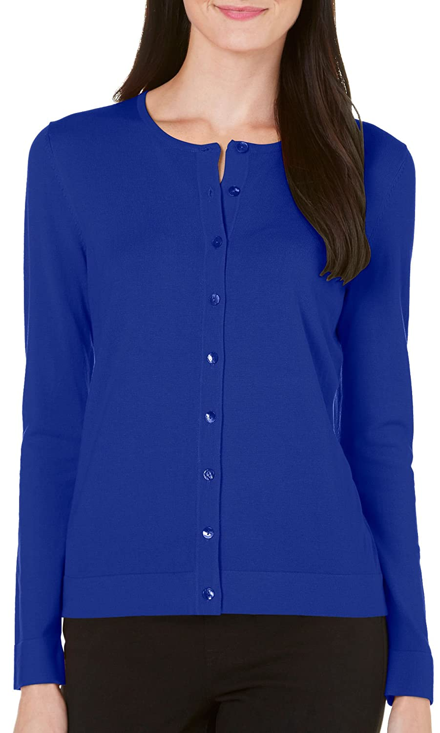 August Silk Womens Solid Button Front Cardigan