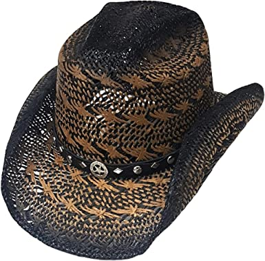 Modestone Unisex Straw Cowboy Hat Breezer Metal Concho Studs Hatband Brown