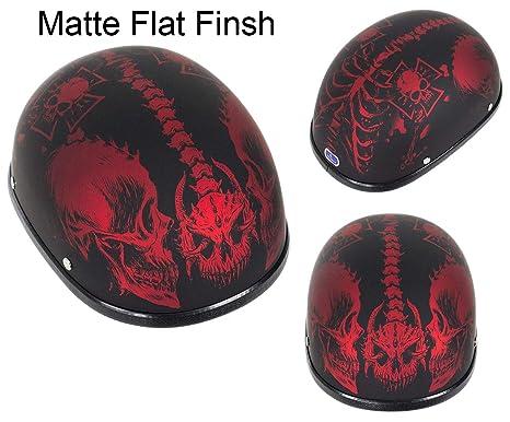 4ea46d08 DMD Trading Low Profile Motorcycle Novelty Low Profile Matte Burgundy Skull  Cap Helmet (2XL -