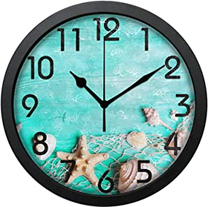 Dadidyc Teal Vintage Wall Clock Silent Summer Seashells Starfish on Fishing Net Fresh Print Round Wall Clock Non Ticking Decorative Living Room Kitchen Home School Office 10 inch