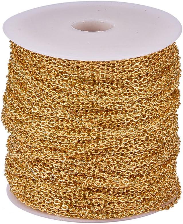 Pandahall 1/Roll Cadena de hierro cadena para hacer joyas collares pulseras Fai Da Te 2/mm de ancho 0.5/mm de grosor cadena color aprox 3/mm de largo Bronce Envejecido