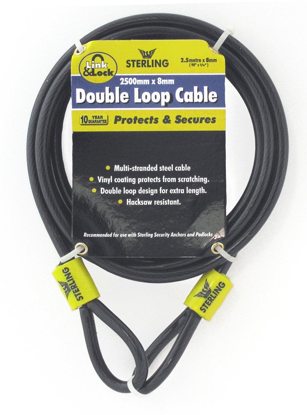 Sterling 825C - Cable trenzado de seguridad de bucle doble (acero, recubrimiento de vinilo, 0,8 cm x 2,5 m) [Importado de Reino Unido] Sterling Locks