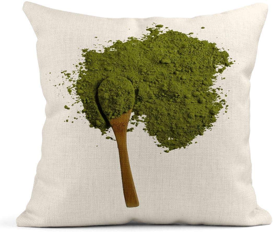 Kinhevao Cojín Blanco Matcha Polvo de té Verde Cuchara de Madera en Bebida asiática aromática Cojín de Lino Almohada Decorativa para el hogar