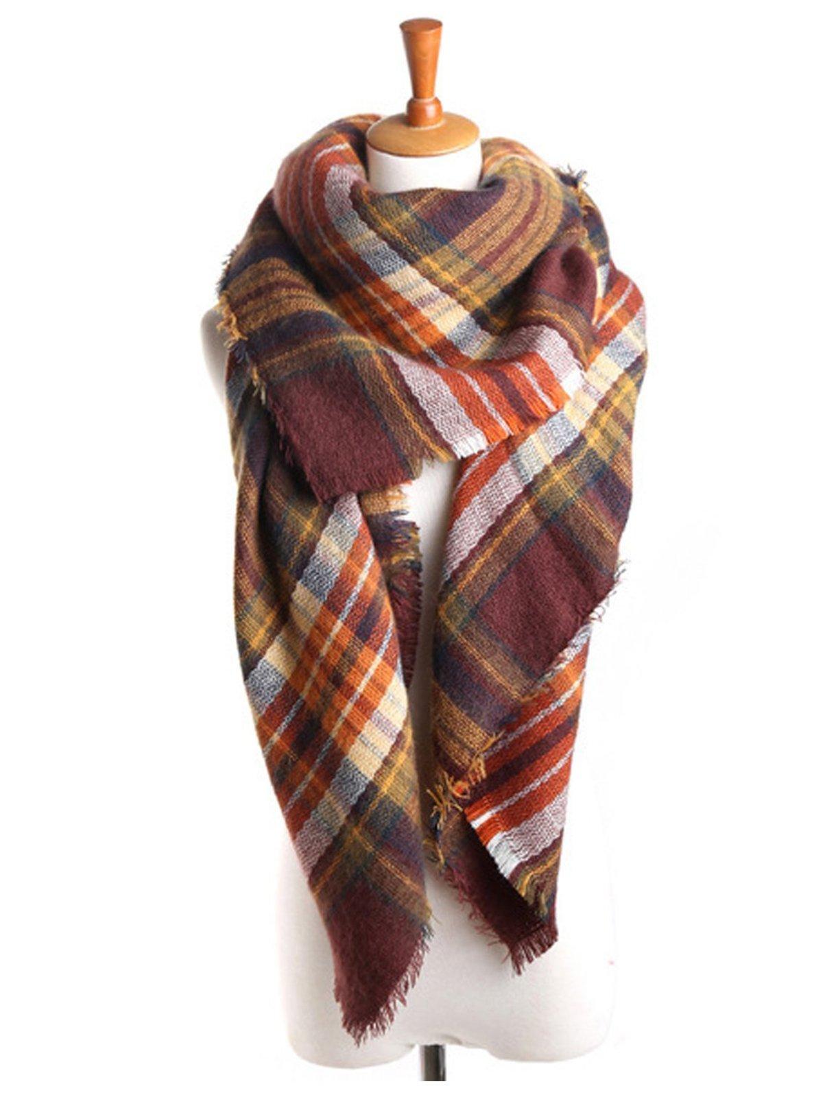Zando Plaid Blanket Thick Winter Scarf Tartan Chunky Wrap Oversized Shawl Cape Coffee