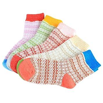 Fascigirl Calcetines de Mujer, 5 Pares de Calcetines de Invierno Calcetines Térmicos Transpirables para Mujer