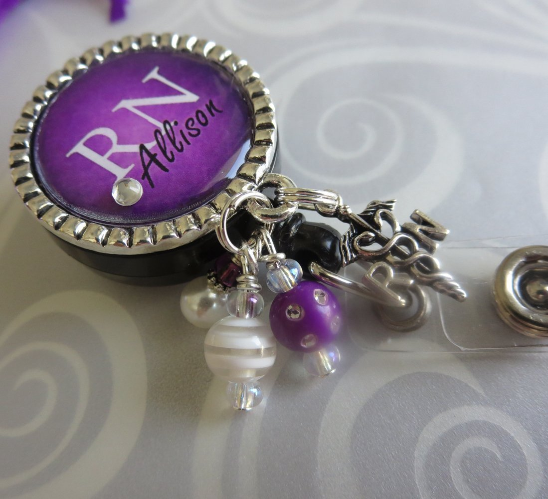 Personalized RN Nurse ID Badge Reel, Custom RN Retractable ID holder, Purple Nurse Name LPN BSN Gift
