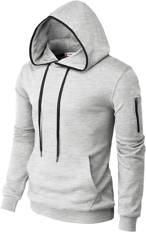 H2H Mens Casual Slim Fit Long Sleeve Hoodie Lightweight Basic Designed