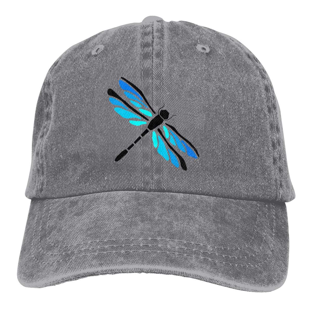 Qbeir Adult Unisex Jeans Cap Adjustable Hat Dragonfly Gift Cotton Denim
