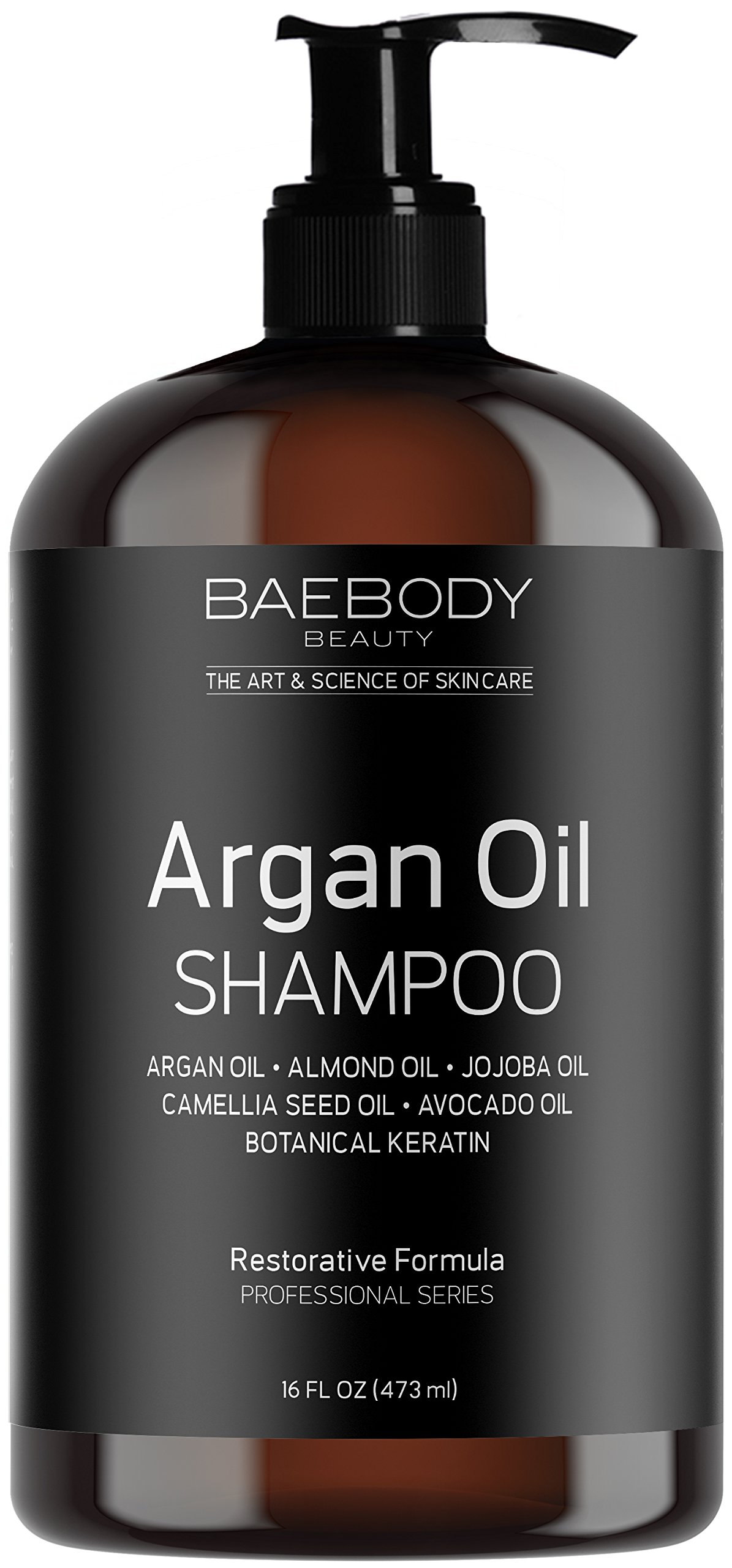 Baebody Moroccan Argan Oil Shampoo 16 Oz - Sulfate Free - Volumizing & Moisturizing, Gentle on Curly & Color Treated Hair, for Men & Women. Infused with Keratin.