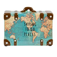 Saving To Go Map Places Suitcase Money Bank by Maia Gifts