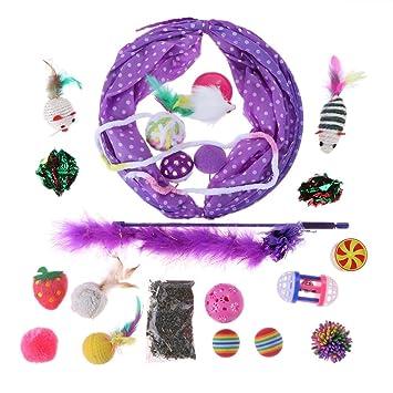Prosperveil - Juego DE 20 Palos Plegables para Mascotas, Túnel, Plumas, Gatos, Juguetes de Menta para Gatito: Amazon.es: Productos para mascotas