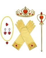Principessa Travestimento Accessori Set con Corona Bastoncino Collana Guanti Orecchini Anello, 8 Pezzi (Giallo)