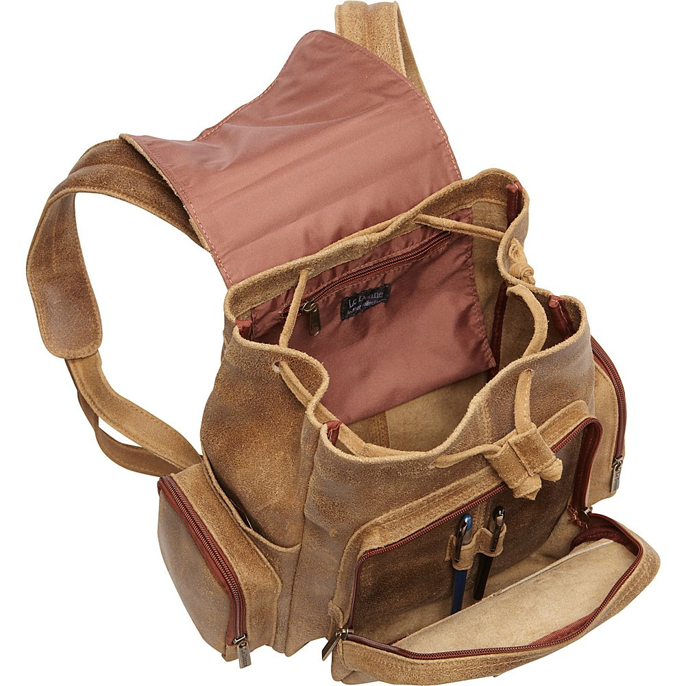 Le Donne Leather Distressed Leather Multi Pocket Back Pack Tan