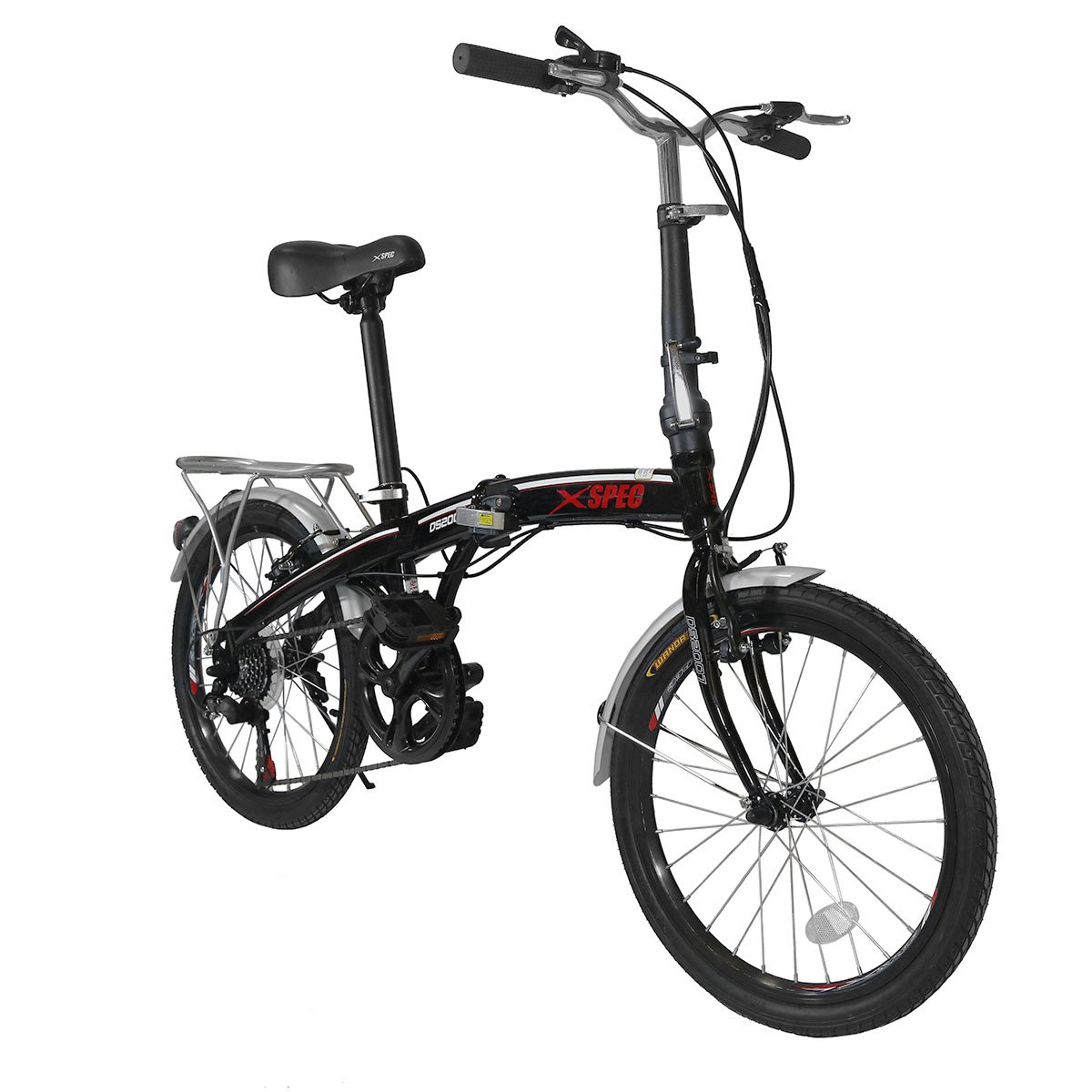 Xspec 20'' 7 Speed City Folding Mini Compact Bike Bicycle Urban Commuter Shimano Black