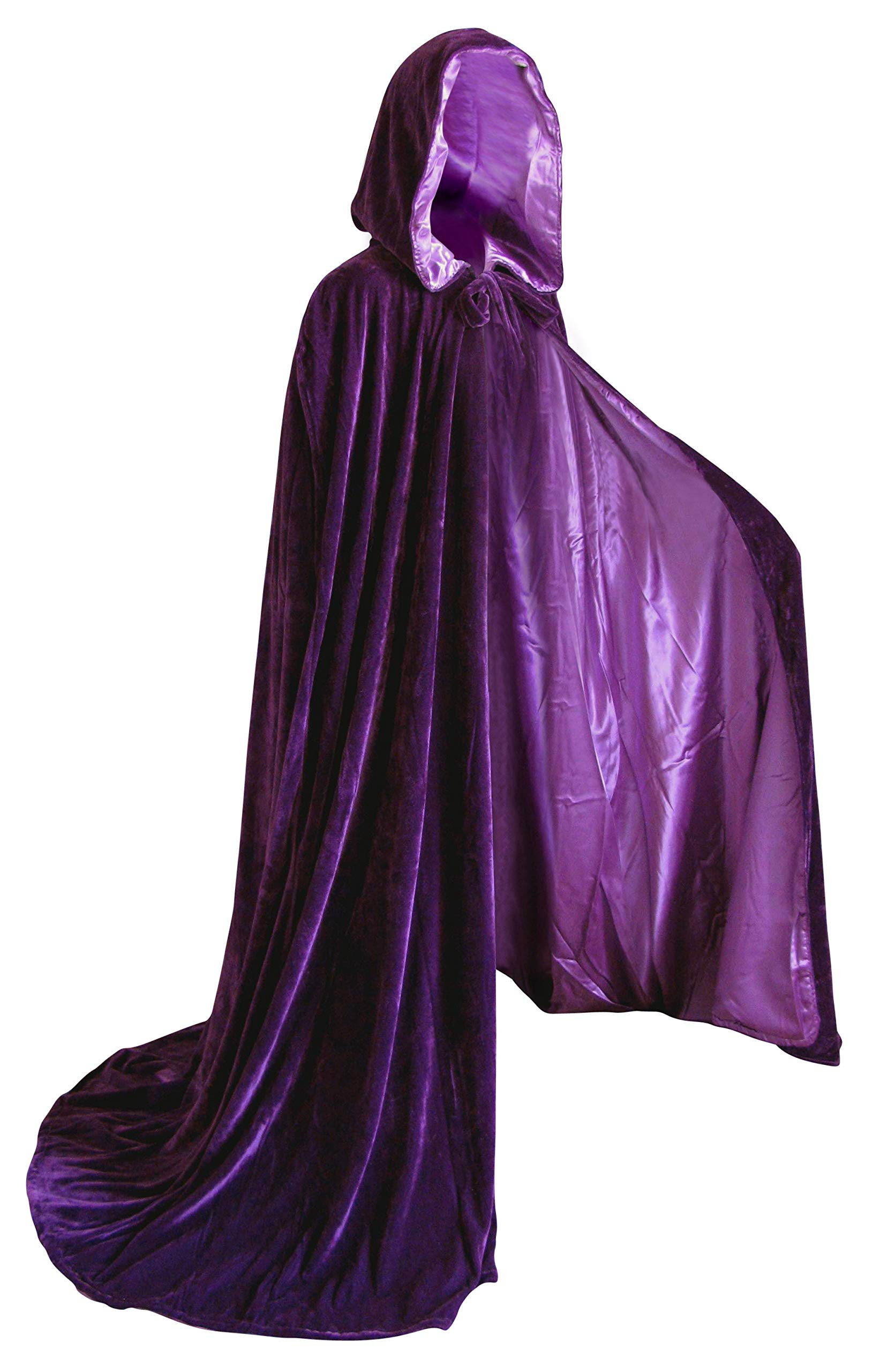 Purple Cloak with Hood for Adult Men Women Velvet