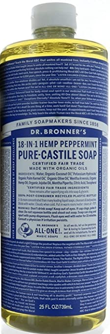 Dr. Bronner Hemp Peppermint Pure Castile Oil Made With Organic Oils Certified   25 Oz by Dr. Bronner's