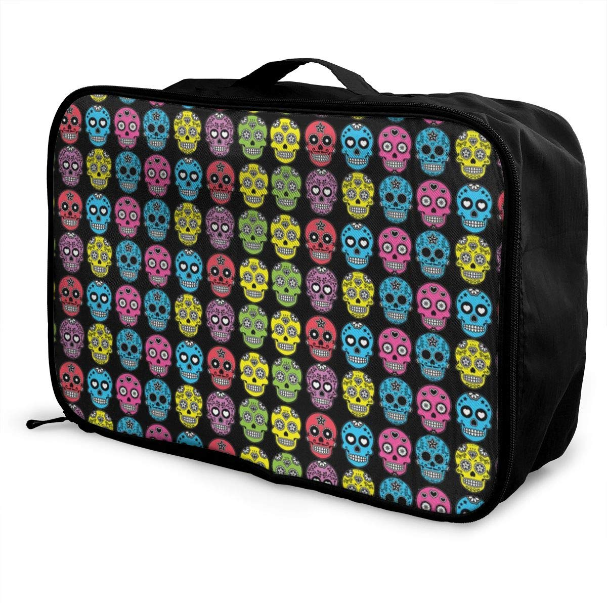 Travel Duffle Bag Mexican Sugar Skull Weekend Bags Water Resistant Foldable Nylon Luggage Duffel Bag For Sports Camping Hiking Vacation Party Holiday Gym