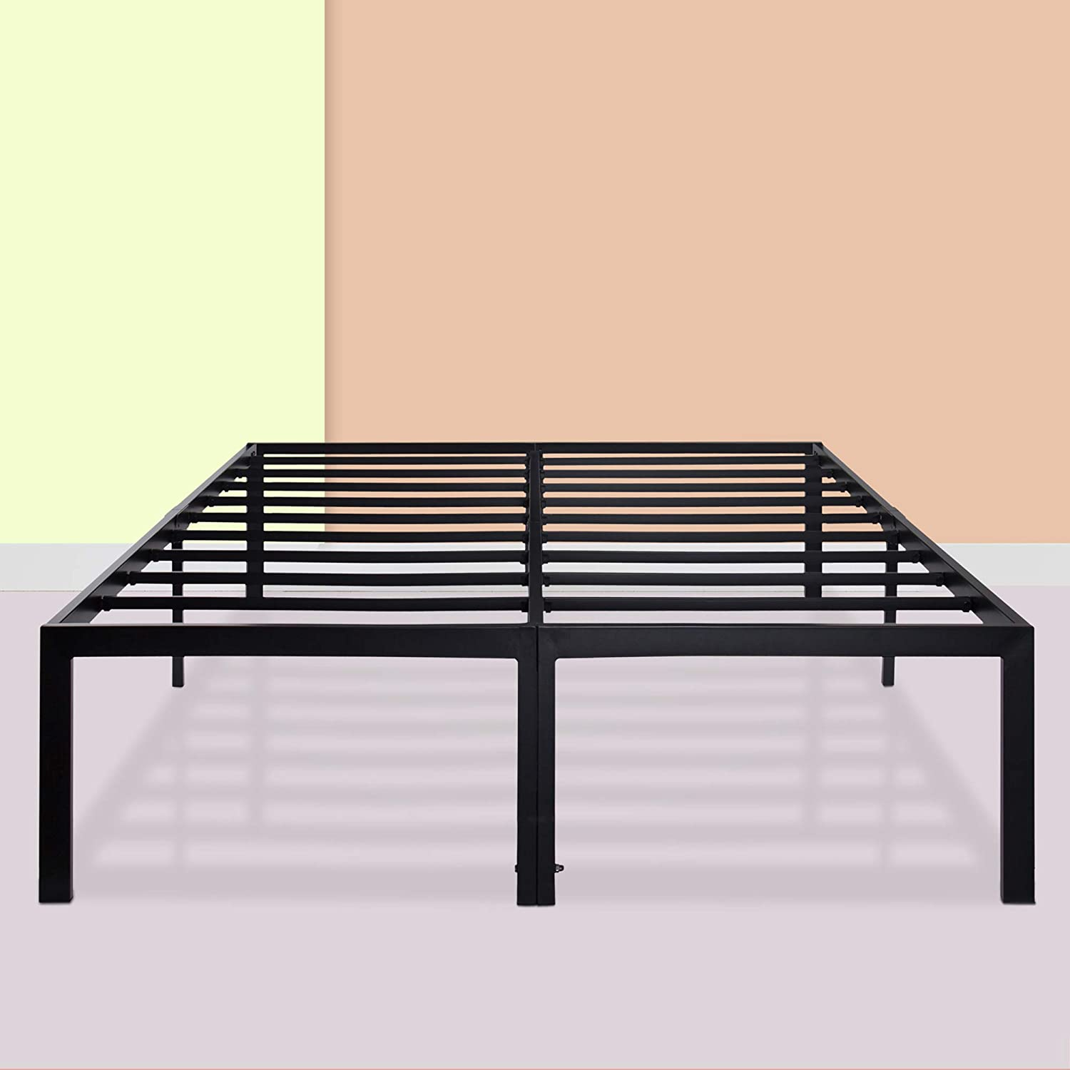 PrimaSleep 18 Ultimate Strength High Profile Heavy Duty Steel Slat Anti-Slip Extra Support Easy Assembly Mattress Foundation Noise Free No Box Spring needed, Black, Full