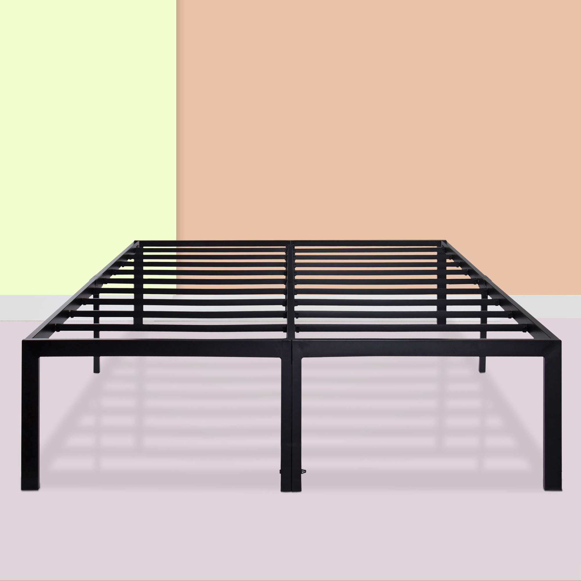 PrimaSleep 18 Inch Ultimate Strength High Profile Heavy Duty Steel Slat/ Anti-slip/ Extra Support/ Easy Assembly/ Mattress Foundation/ Noise Free/ No Box Spring Needed, Black  ,California King