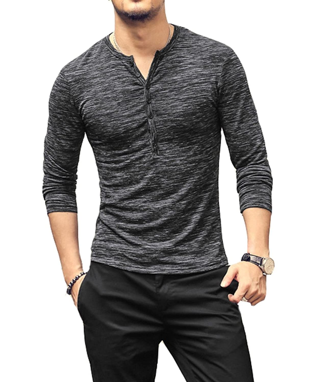Aitfineism Mens Casual Slim Fit Basic Henley Long Sleeve T Shirt by Aitfineism