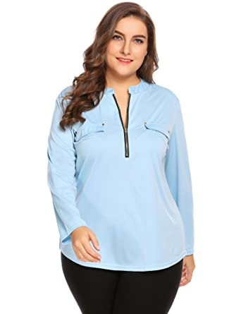0126dd14273 Blue Women Plus Size Casual Loose Long Sleeve Zip Up Solid T Shirt Blouse  top