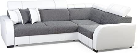 Meublo Canape D Angle Convertibles 3 4 Places Tissu Simili Cuir Houston Gris Canape D Angle Droit