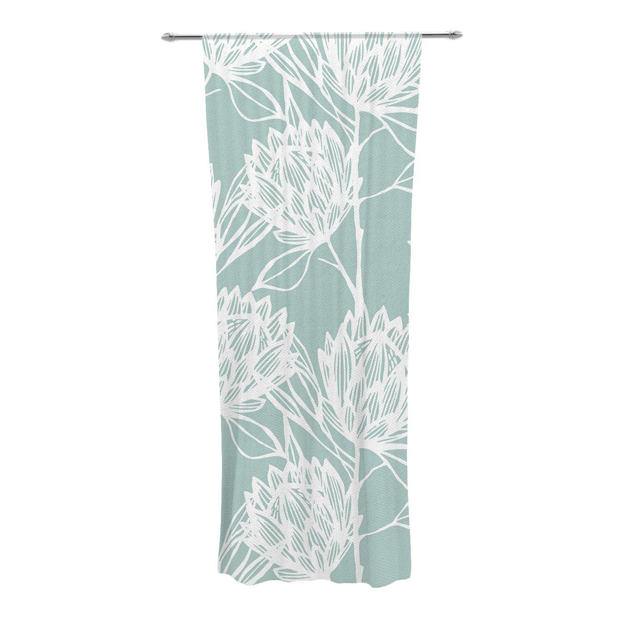Kess InHouse Kess Original Namaste in Bed Teal Blue White Decorative Set 30 x 84 Sheer Curtains