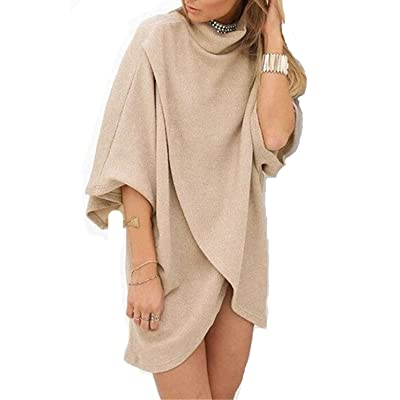 AKENA Women's 3/4 Sleeve Loose Blouse Irregular High Neck Mini Dress