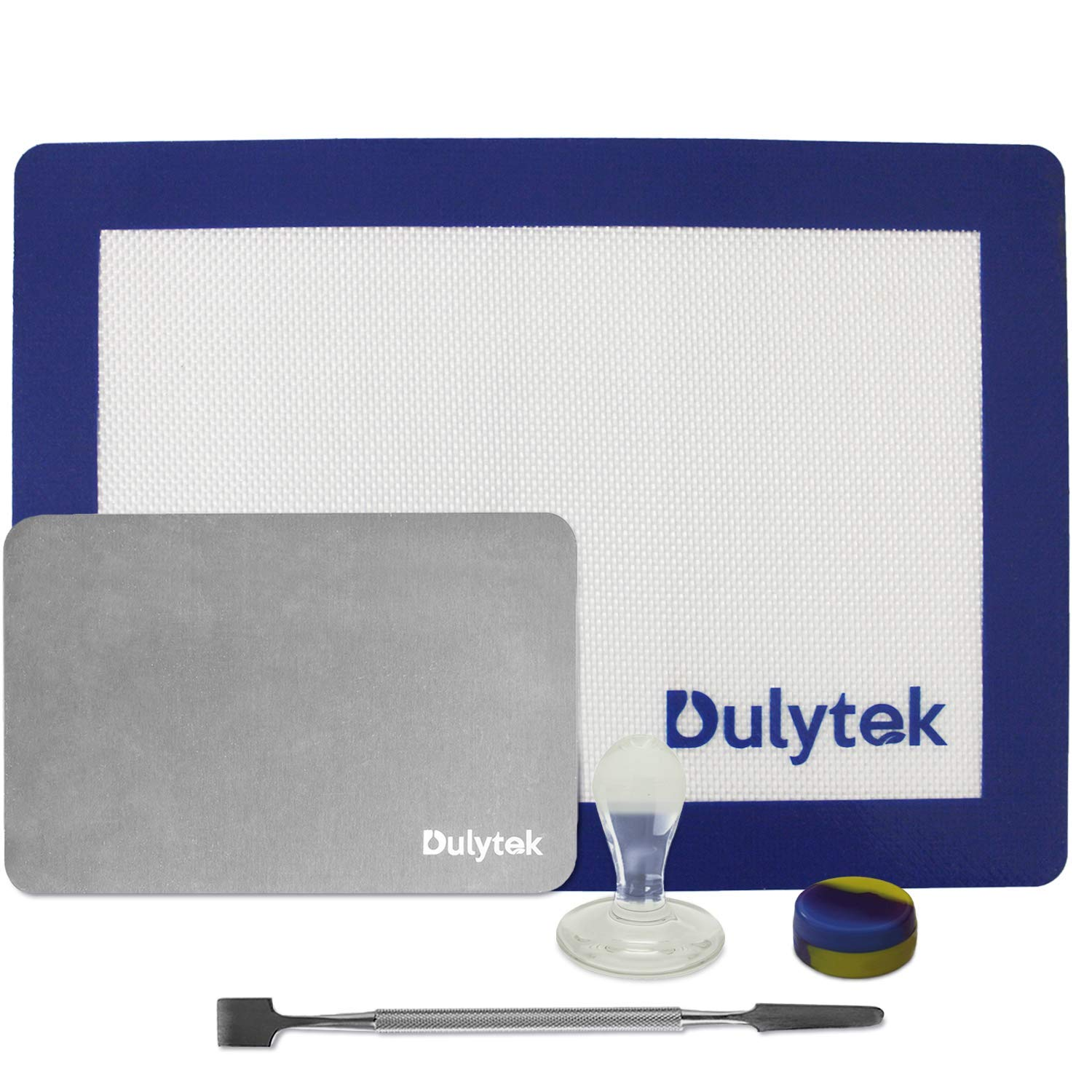 "Dulytek Wax Collection Gadget and Tool Set - Big Stainless Steel Scraper, Glass Stamp, Concentrate Jar, 4"" x 6"" Cooling Plate, Large Silicone Mat"