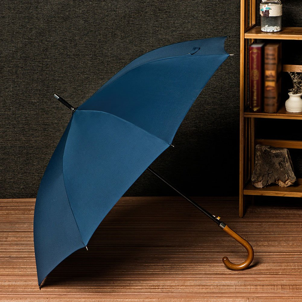 Umbrellas Golf Business Windproof Travel Retro Solid Wood Long-handled Straight Rod Sunny Rain For men/women (Color : Blue)